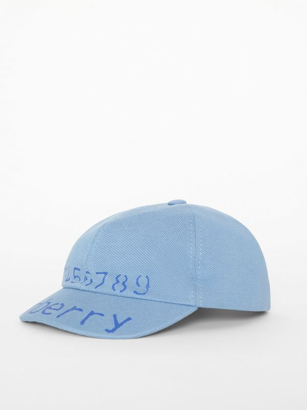 Stencil Logo Print Baseball Cap in Bright Cyan Blue - Children | Burberry - cell image 3