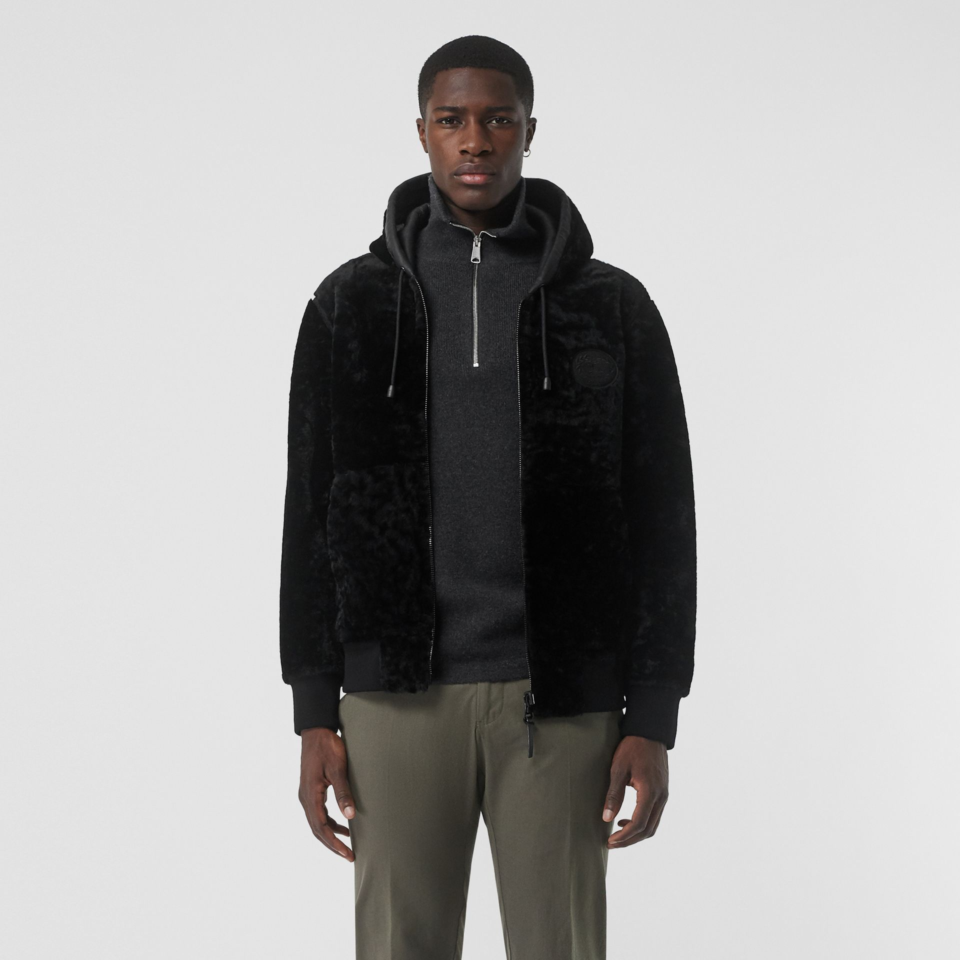 Reversible Shearling Hooded Bomber Jacket in Black - Men | Burberry United Kingdom - gallery image 6
