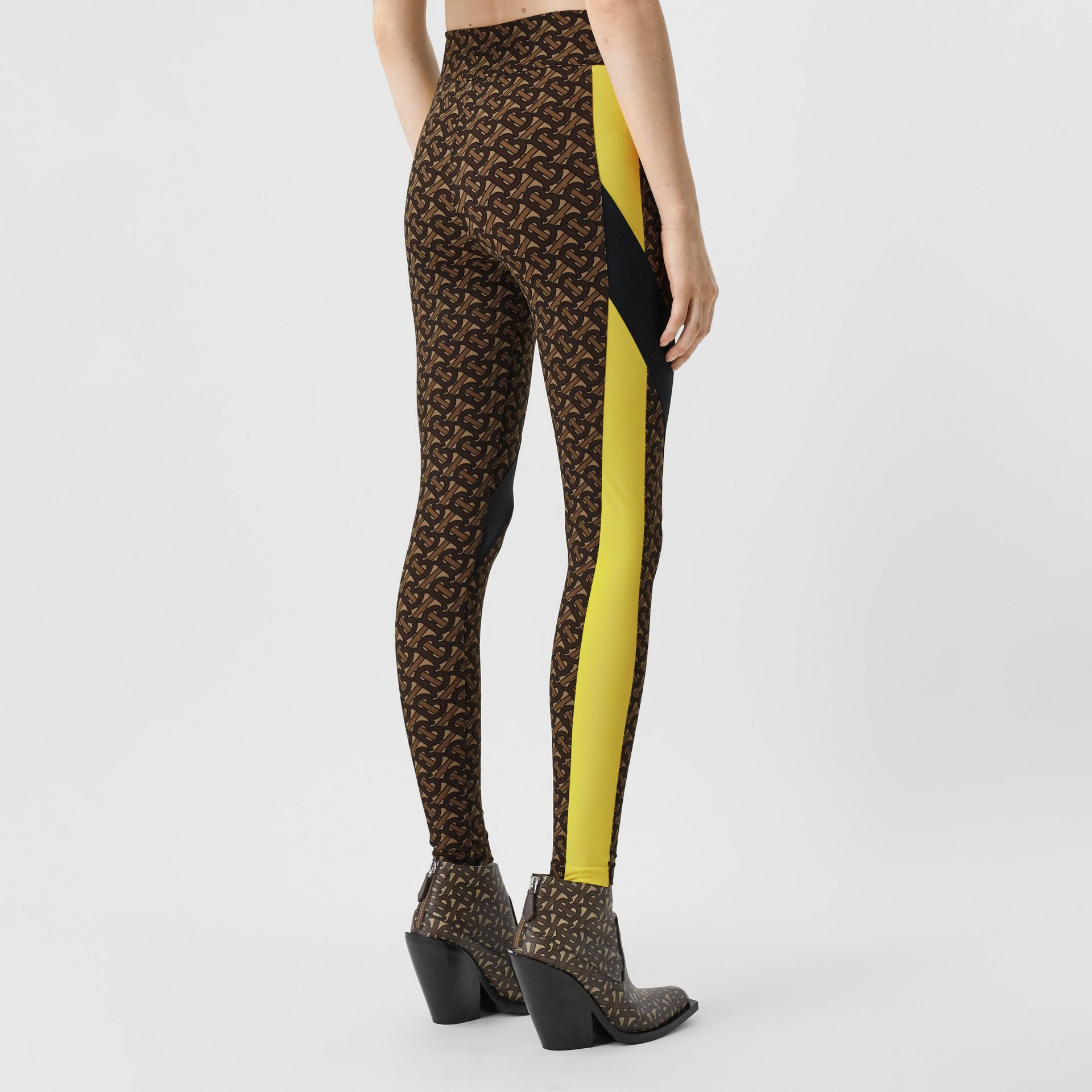 Colour Block Monogram Print Stretch Jersey Leggings in Bridle Brown - Women | Burberry United Kingdom - gallery image 2