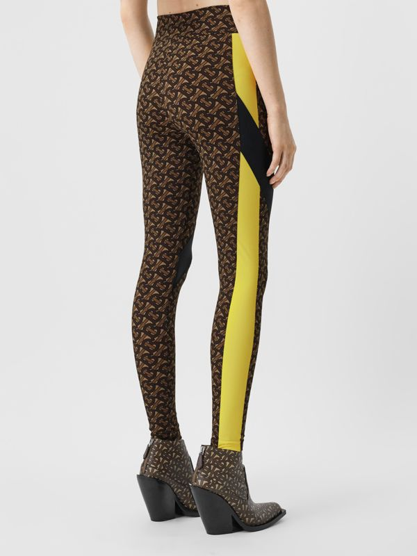 Colour Block Monogram Print Stretch Jersey Leggings in Bridle Brown - Women | Burberry United Kingdom - cell image 2