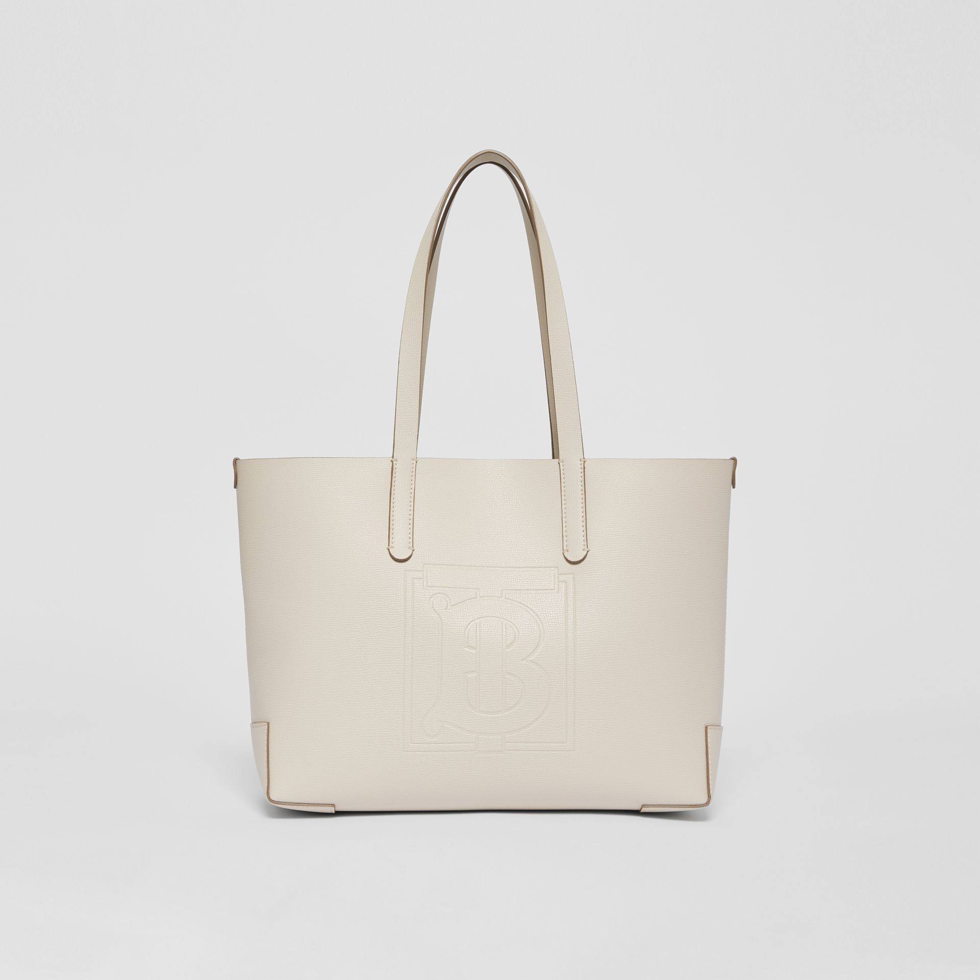 Embossed Monogram Motif Leather Tote in Limestone - Women | Burberry Australia - gallery image 0