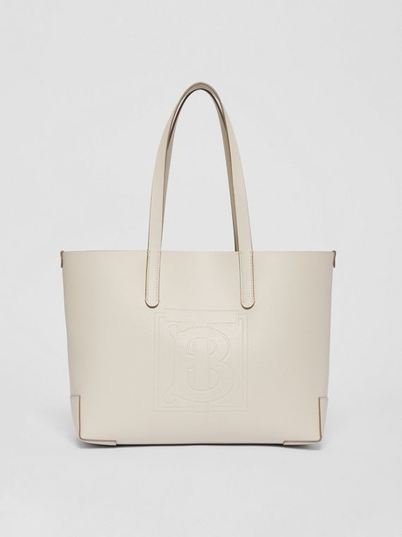Embossed Monogram Motif Leather Tote in Limestone
