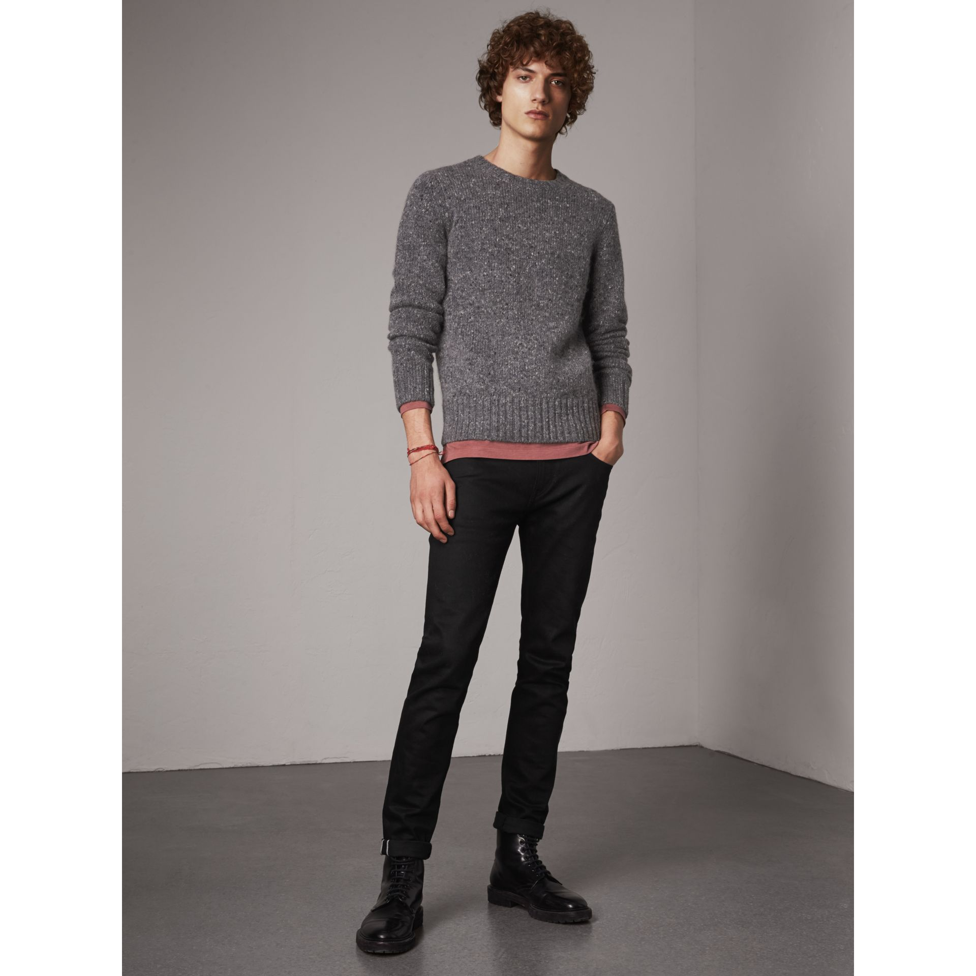 Wool Cashmere Mohair Tweed Sweater in Dark Grey Melange - Men | Burberry - gallery image 5