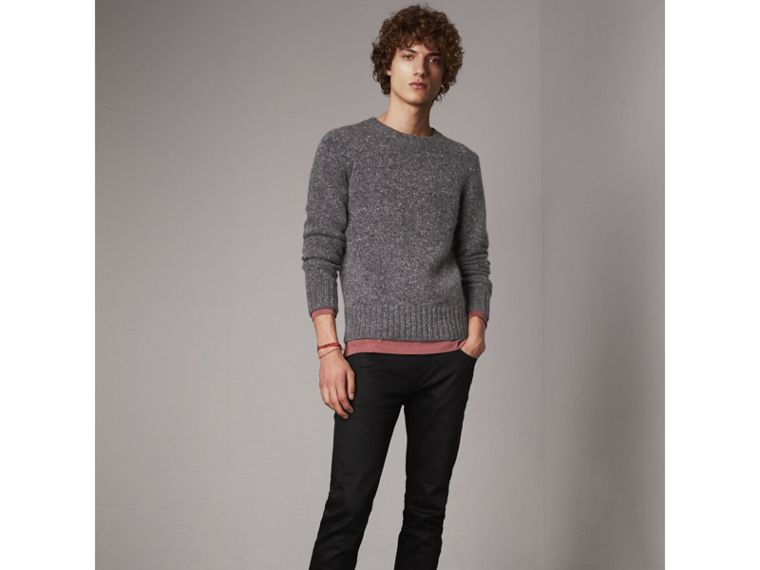 Wool Cashmere Mohair Tweed Sweater in Dark Grey Melange - Men | Burberry - cell image 4