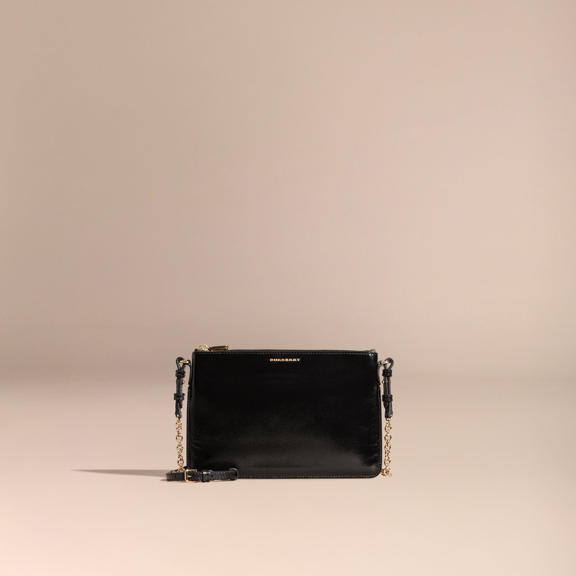 Noir Clutch en cuir London verni Noir - photo de la galerie 9