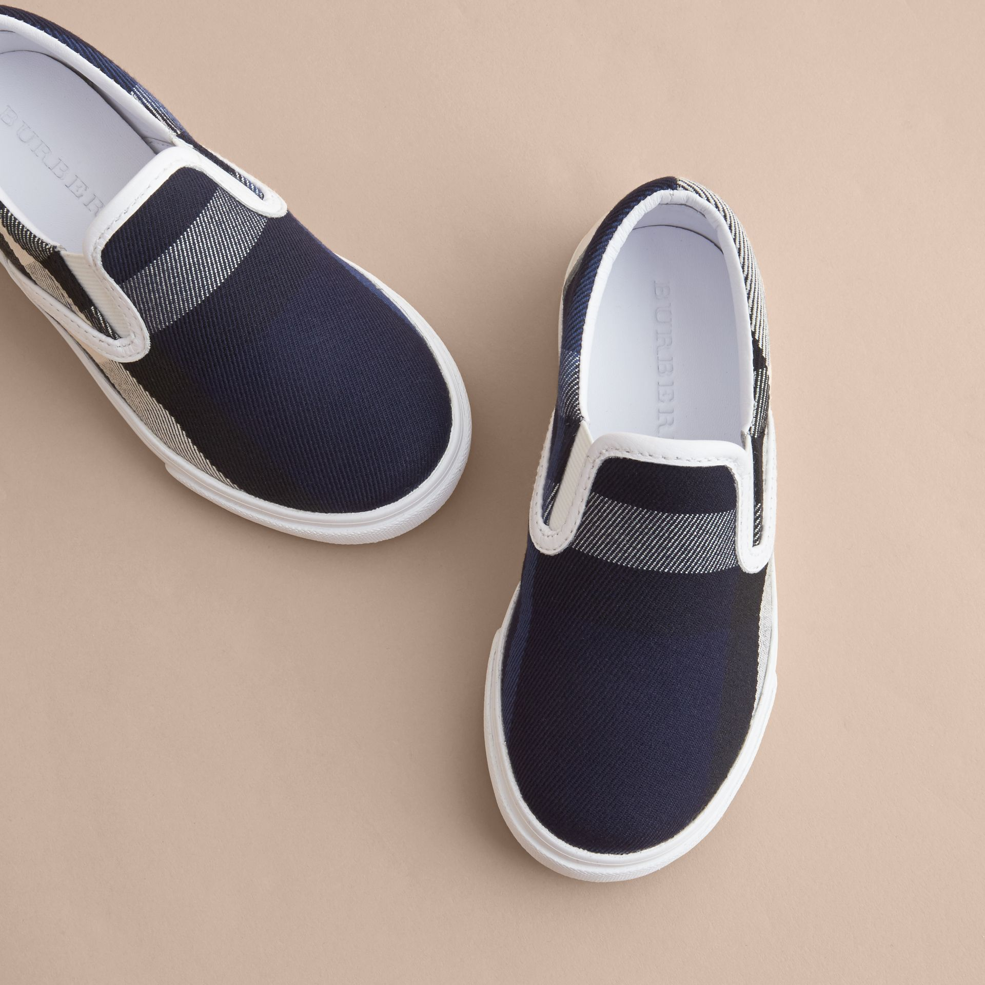 Tonal House Check and Leather Slip-on Trainers in Bright Sapphire | Burberry - gallery image 3