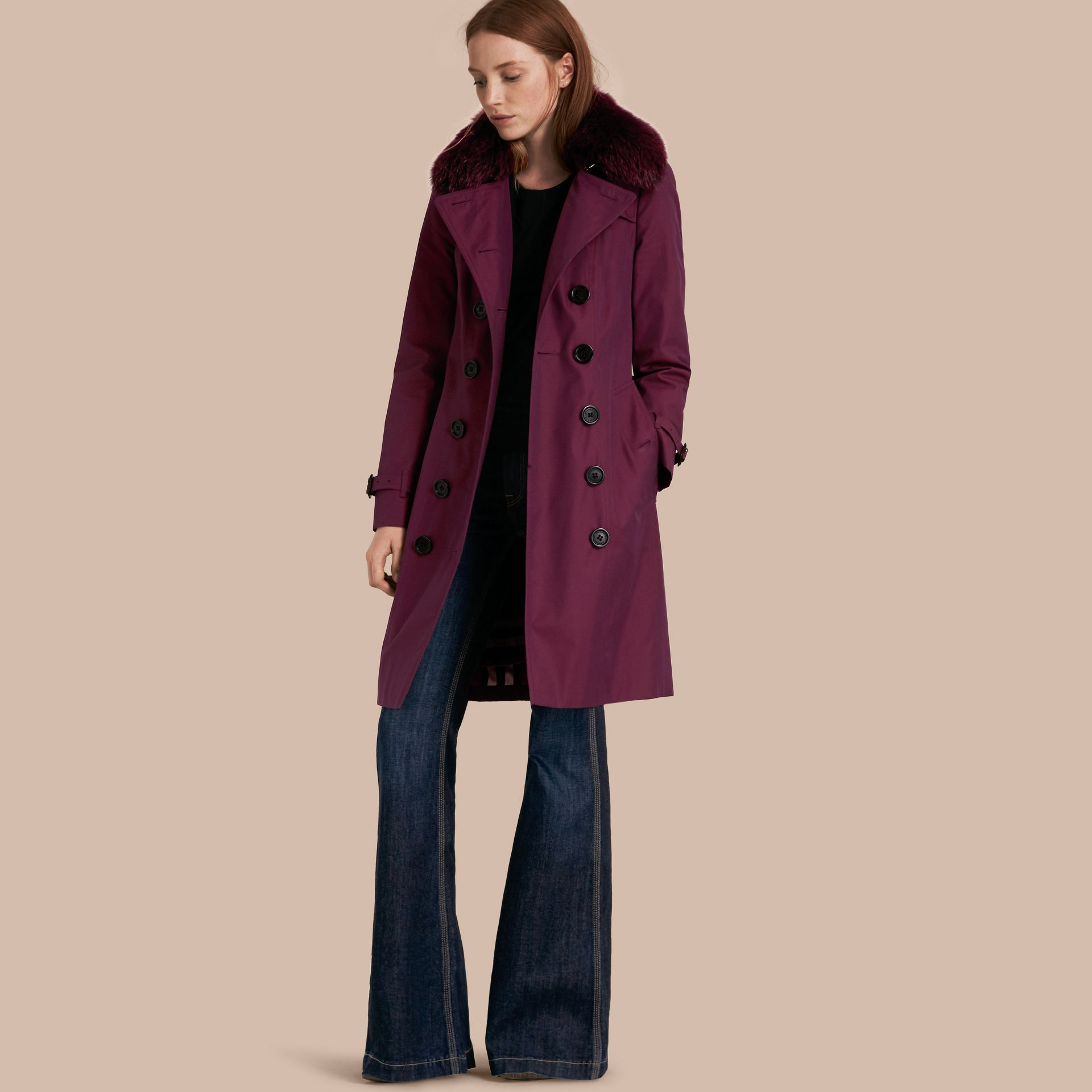 Crimson Cotton Gabardine Trench Coat with Detachable Fur Trim Crimson - gallery image 1