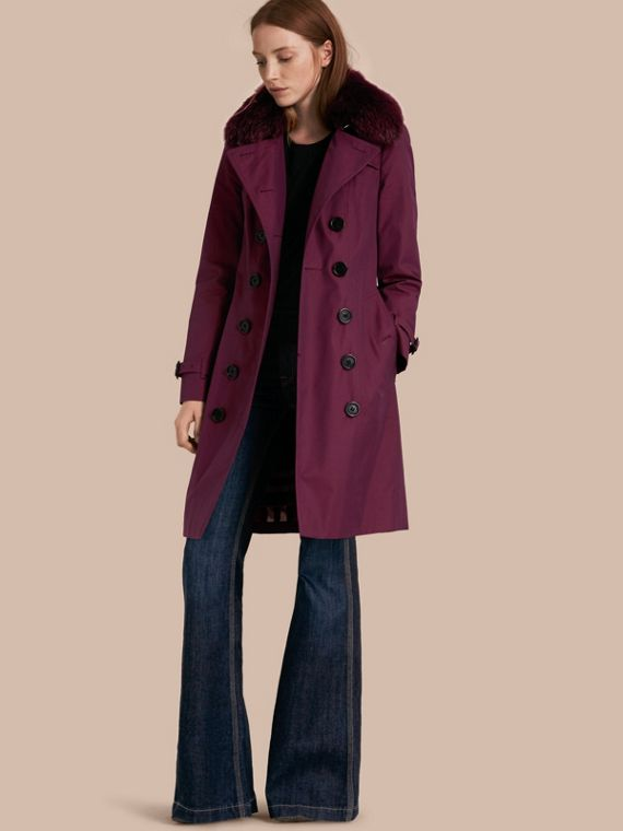 Trench-coat en gabardine de coton avec bordure en fourrure amovible Crimson