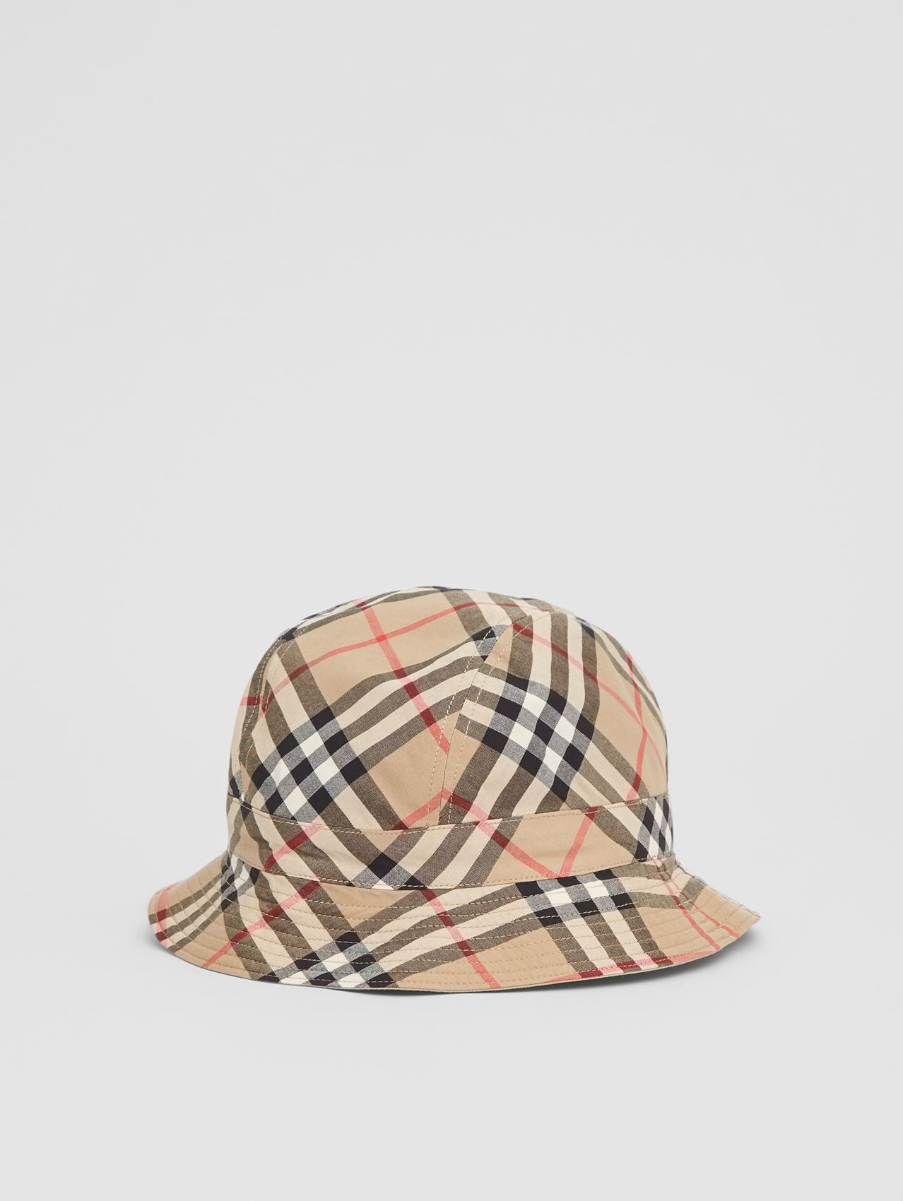 Reversible Vintage Check Bucket Hat in Archive Beige