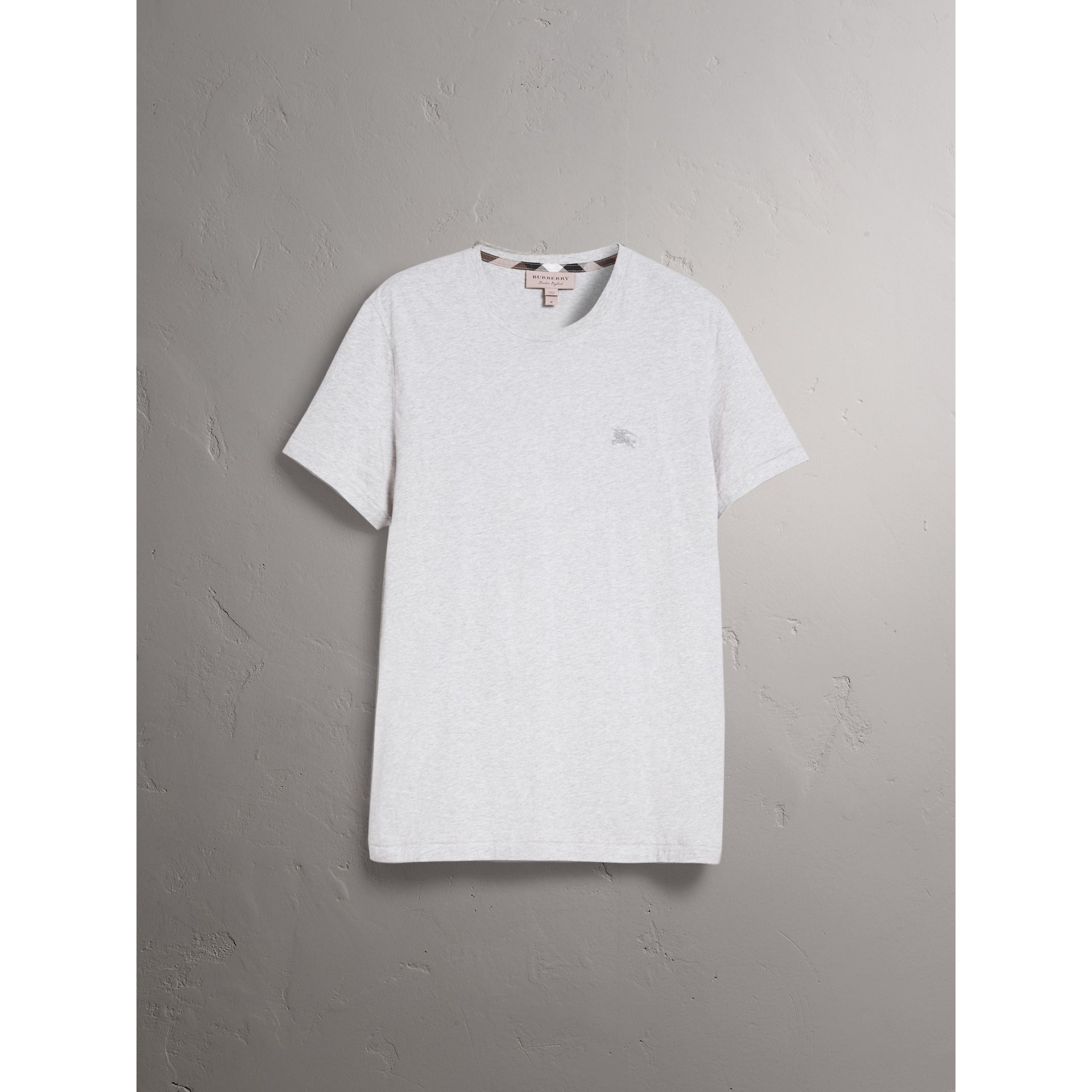Cotton Jersey T-shirt in Pale Grey Melange - Men | Burberry United States - gallery image 3