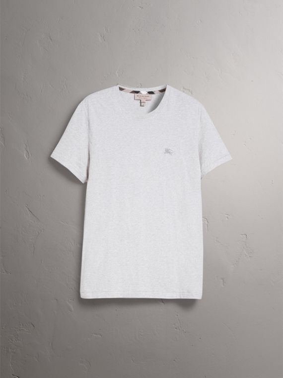 Cotton Jersey T-shirt in Pale Grey Melange - Men | Burberry Australia - cell image 3