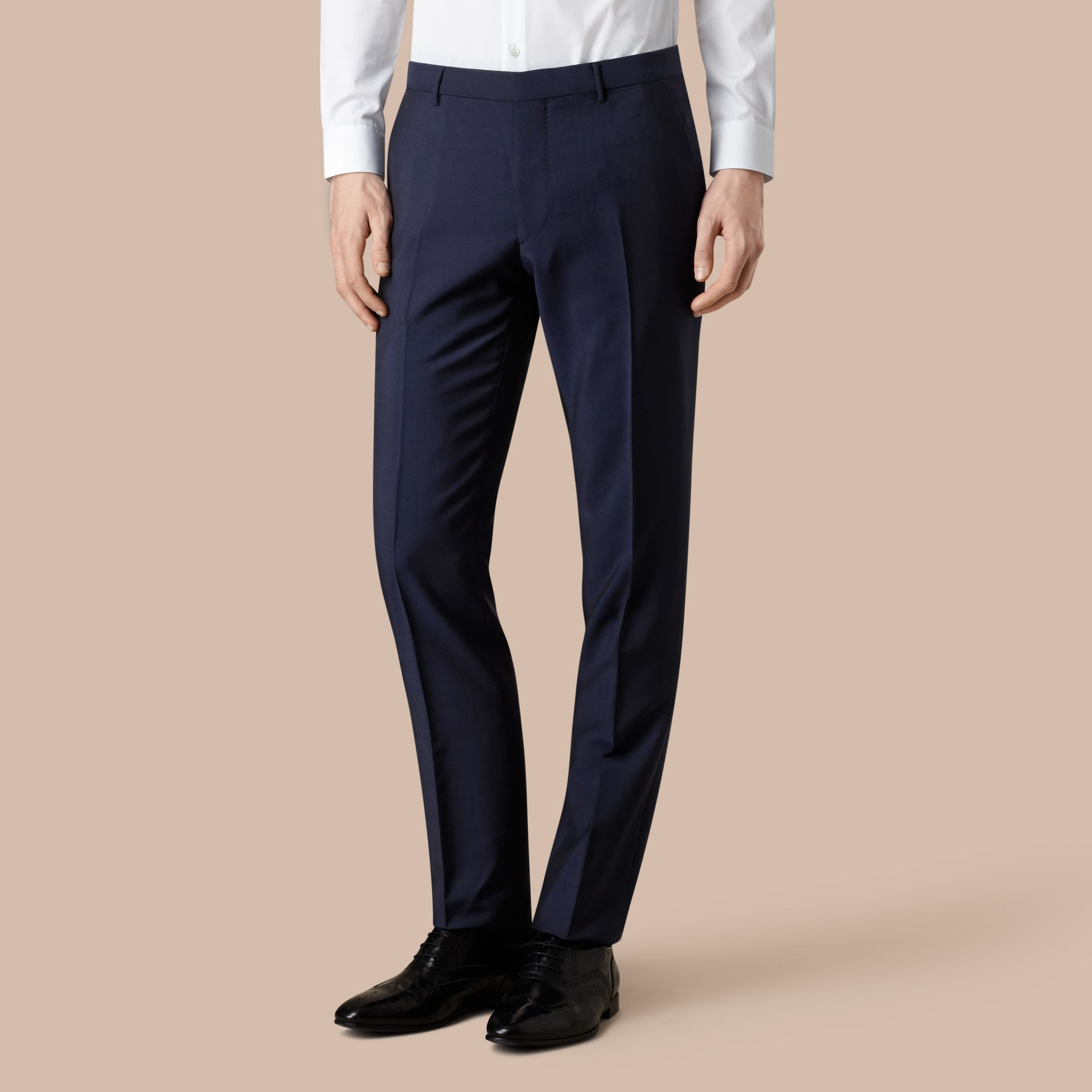 Modern Fit Wool Mohair Trousers Royal Navy - gallery image 3