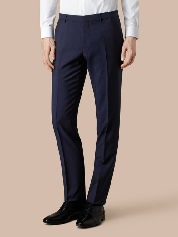 Modern Fit Wool Mohair Trousers Royal Navy - cell image 2