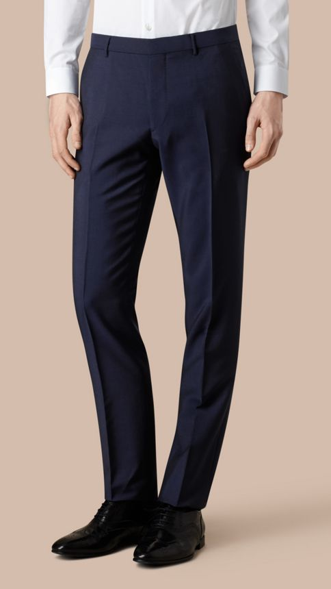 Royal navy Modern Fit Wool Mohair Trousers Royal Navy - Image 3