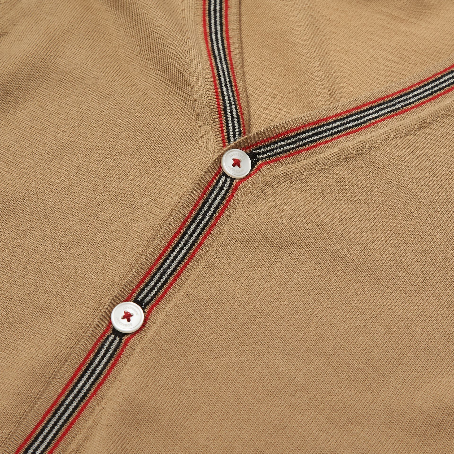 Icon Stripe Detail Merino Wool Cardigan in Archive Beige | Burberry - gallery image 1