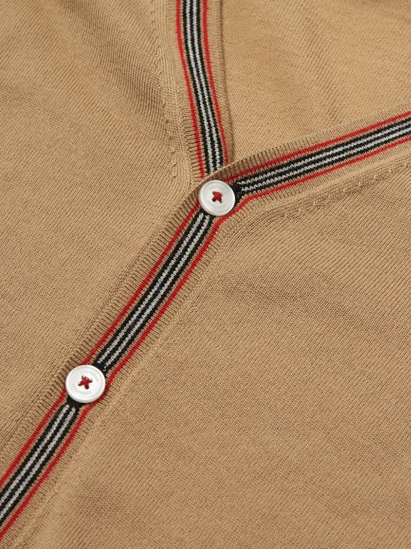 Icon Stripe Detail Merino Wool Cardigan in Archive Beige | Burberry United Kingdom - cell image 1