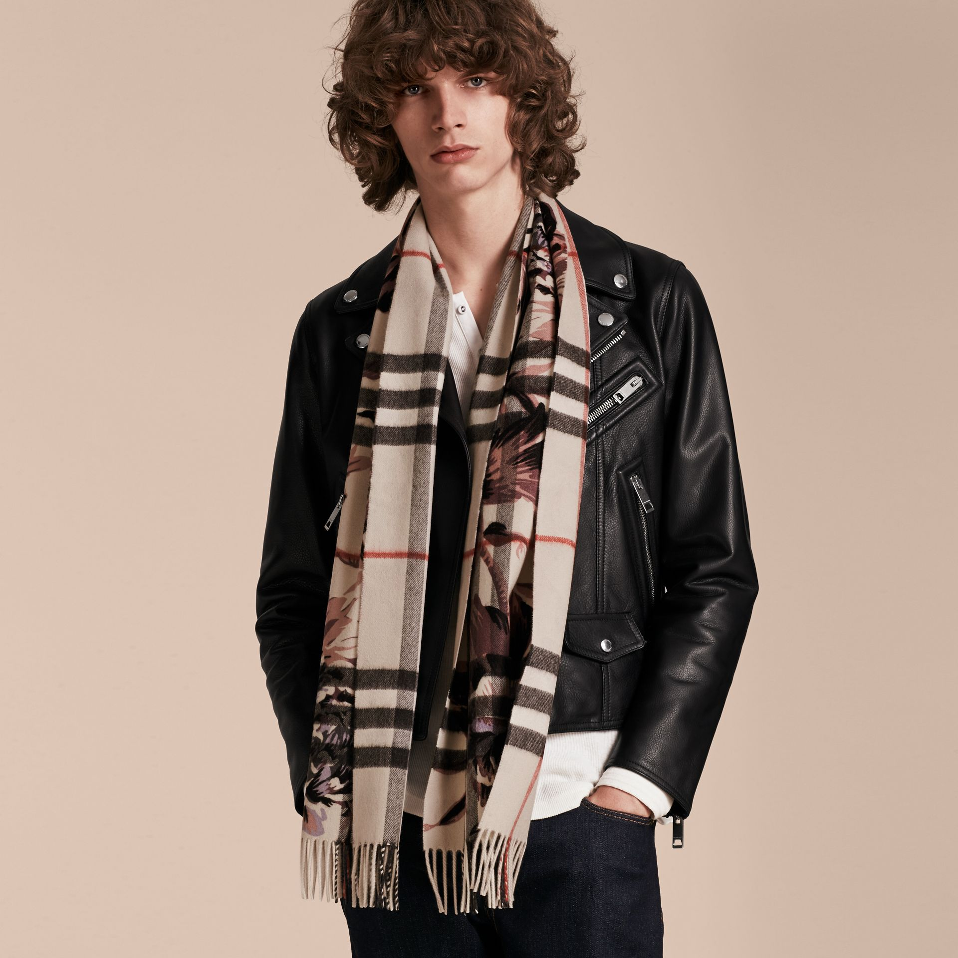 The Classic Cashmere Scarf in Check with Peony Rose Print - gallery image 4