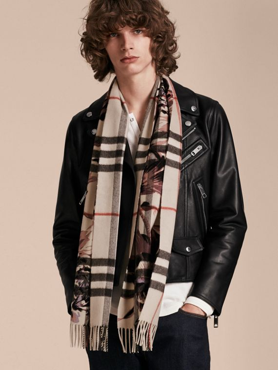 The Classic Cashmere Scarf in Check with Peony Rose Print - cell image 3