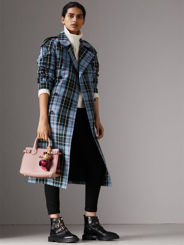 The Small Banner in Leather and House Check in Pale Orchid - Women | Burberry - cell image 2