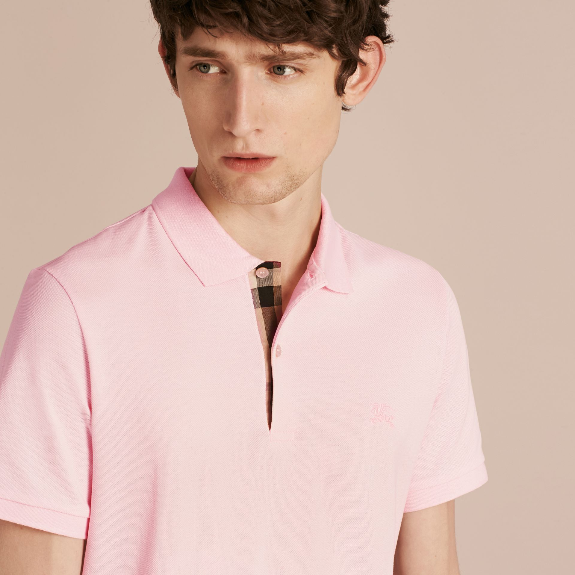 Check Placket Cotton Piqué Polo Shirt in City Pink - gallery image 5