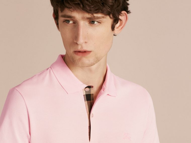 Check Placket Cotton Piqué Polo Shirt in City Pink - cell image 4