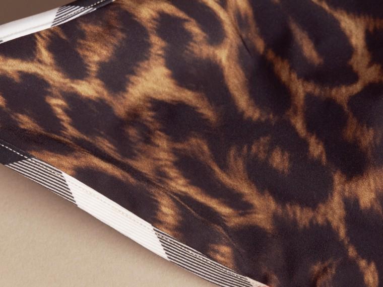 Animal Print Triangle Bikini with Check Trim - cell image 1
