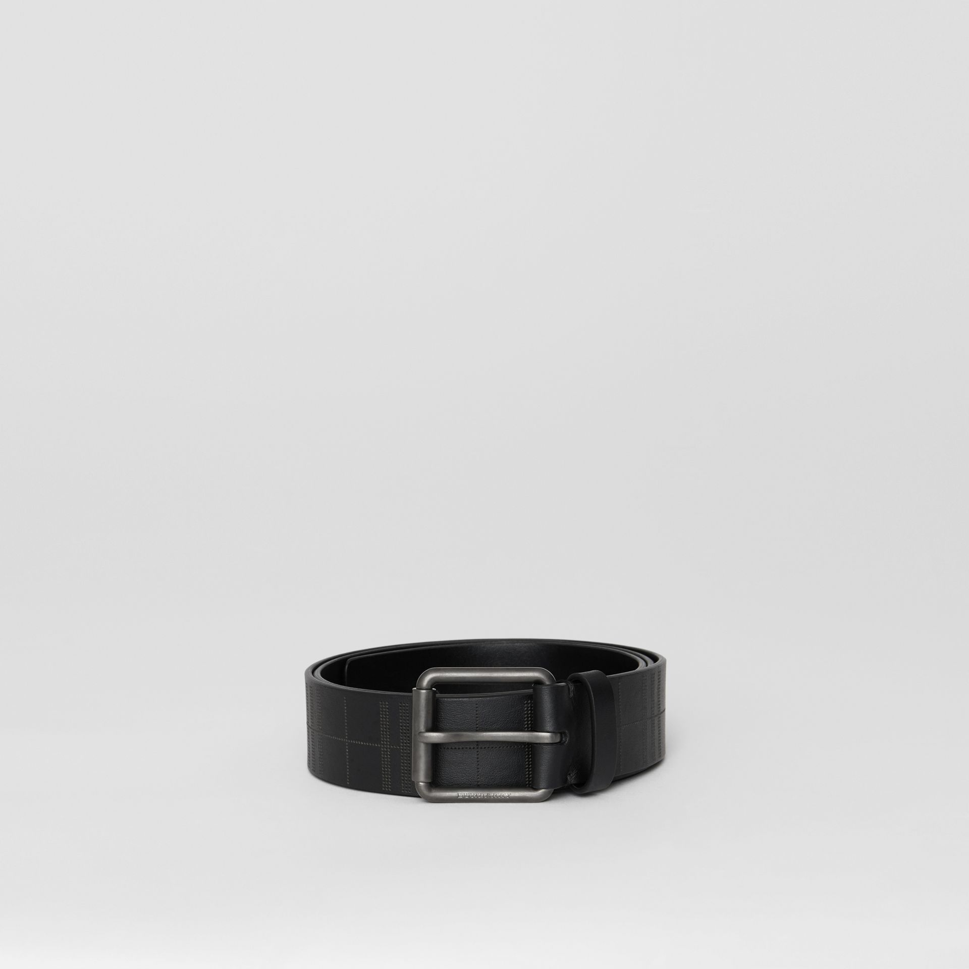 Perforated Check Leather Belt in Black - Men | Burberry United Kingdom - gallery image 2