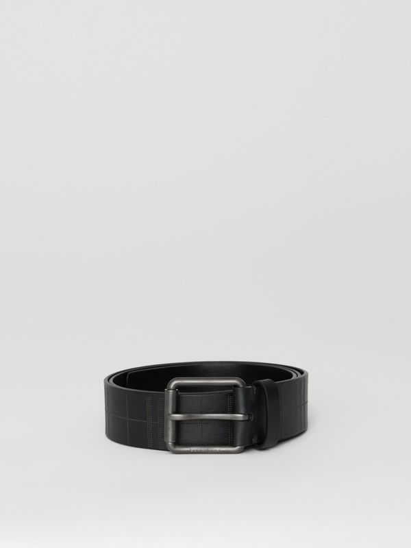 Perforated Check Leather Belt in Black - Men | Burberry - cell image 2