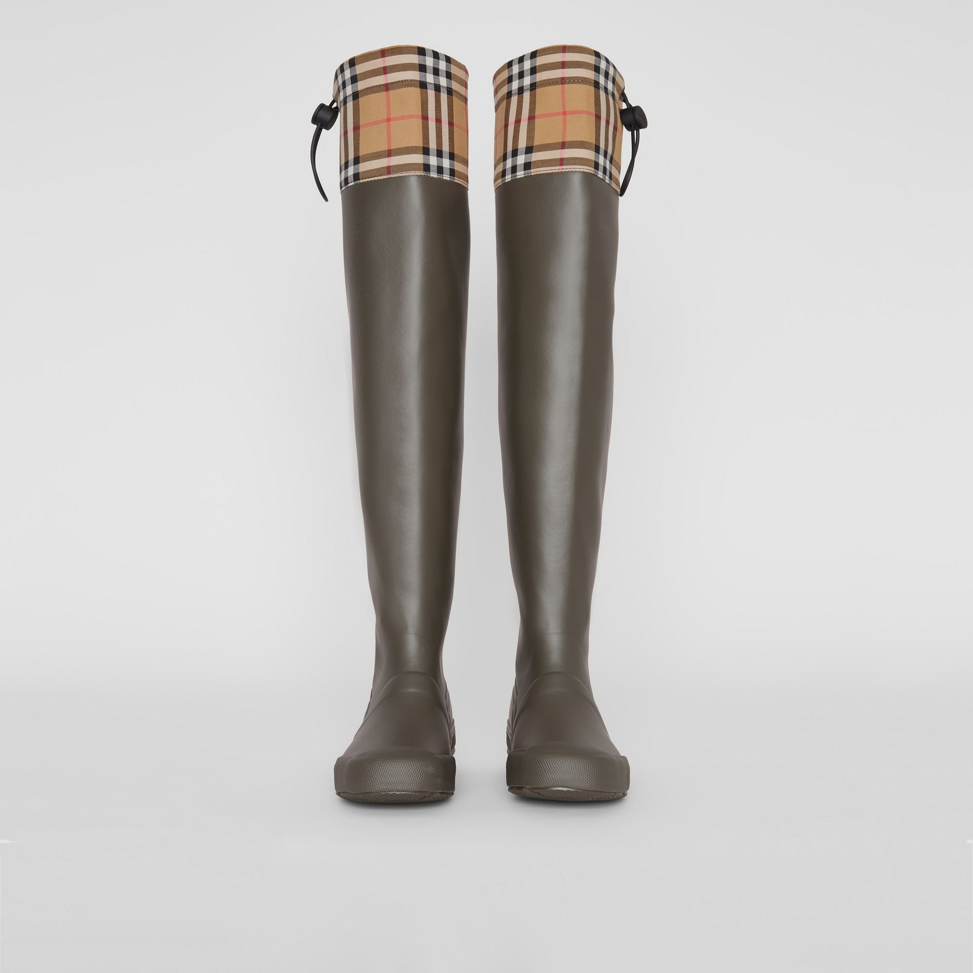 Vintage Check and Rubber Knee-high Rain Boots in Military Green - Women | Burberry - gallery image 3