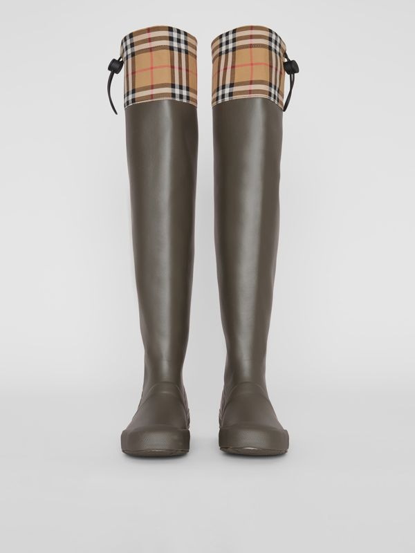 Vintage Check and Rubber Knee-high Rain Boots in Military Green - Women | Burberry - cell image 3