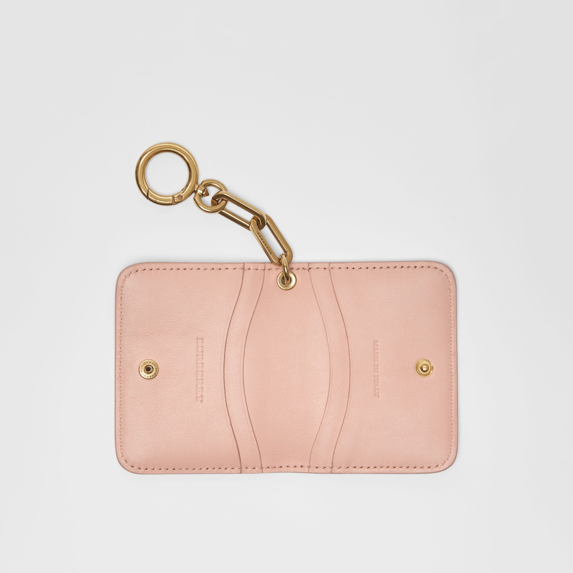 Link Detail Patent Leather ID Card Case Charm in Pale Fawn Pink - Women | Burberry United States - gallery image 3