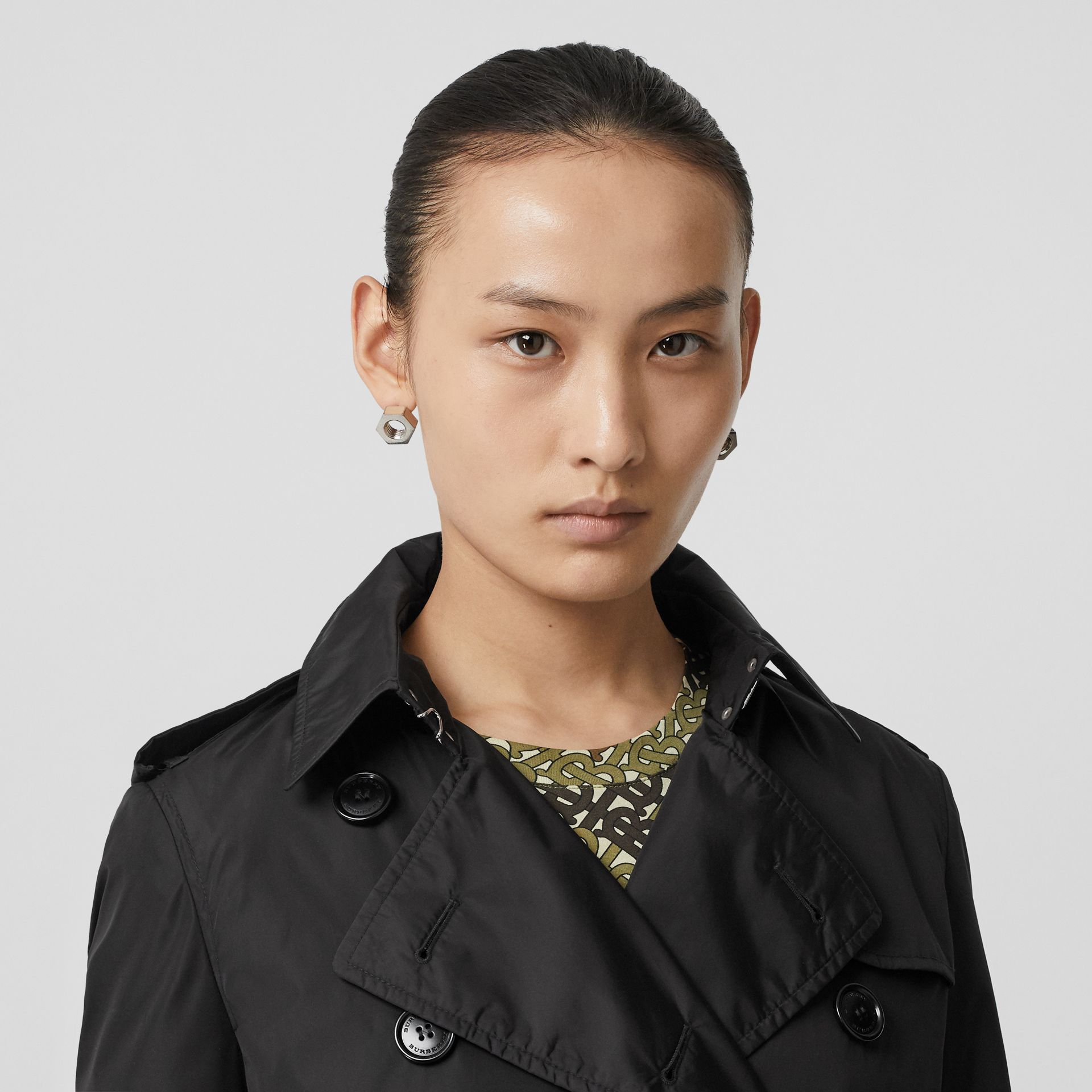 Detachable Hood ECONYL® Trench Coat in Black - Women | Burberry Singapore - gallery image 1
