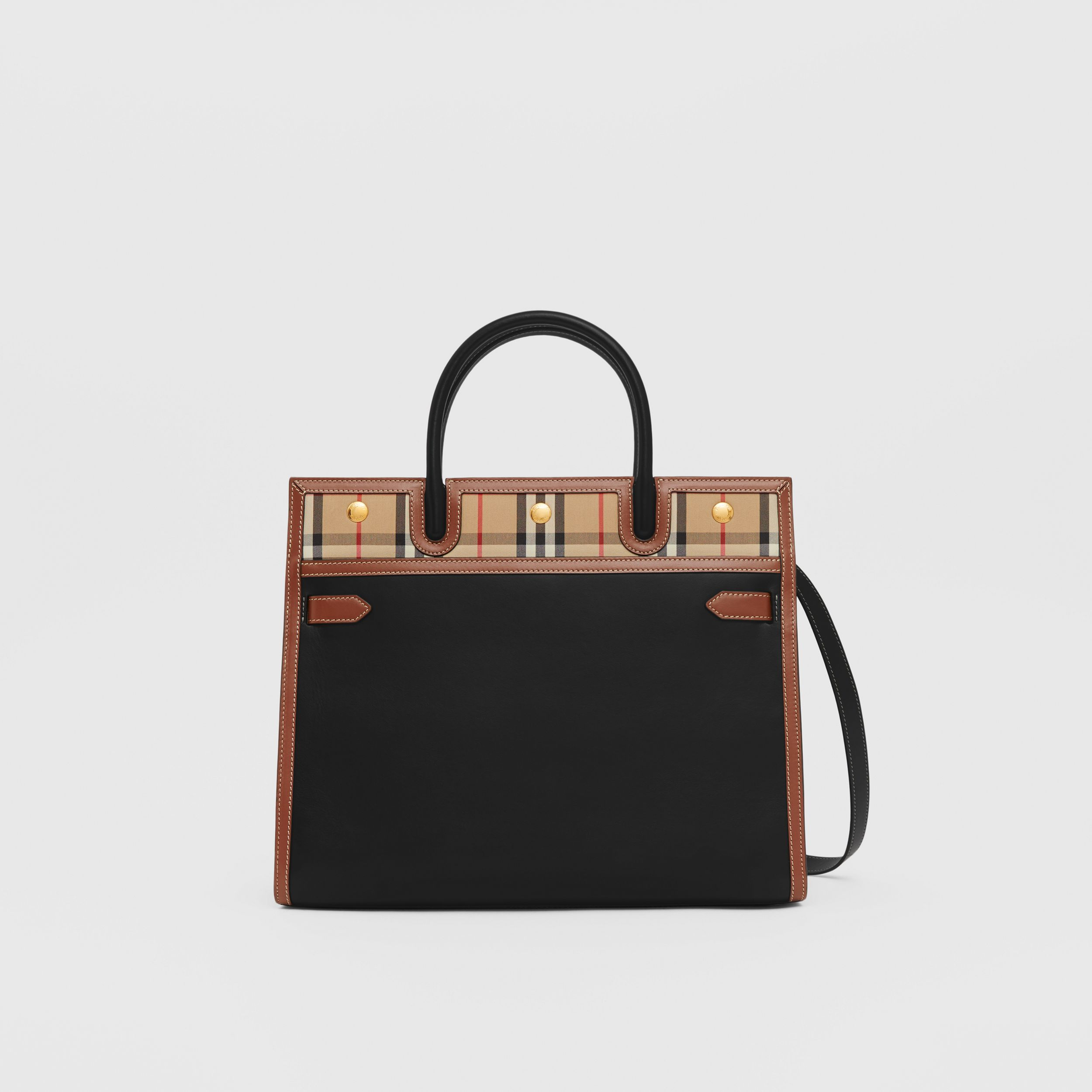 Small Leather and Vintage Check Two-handle Title Bag in Black - Women | Burberry - 1