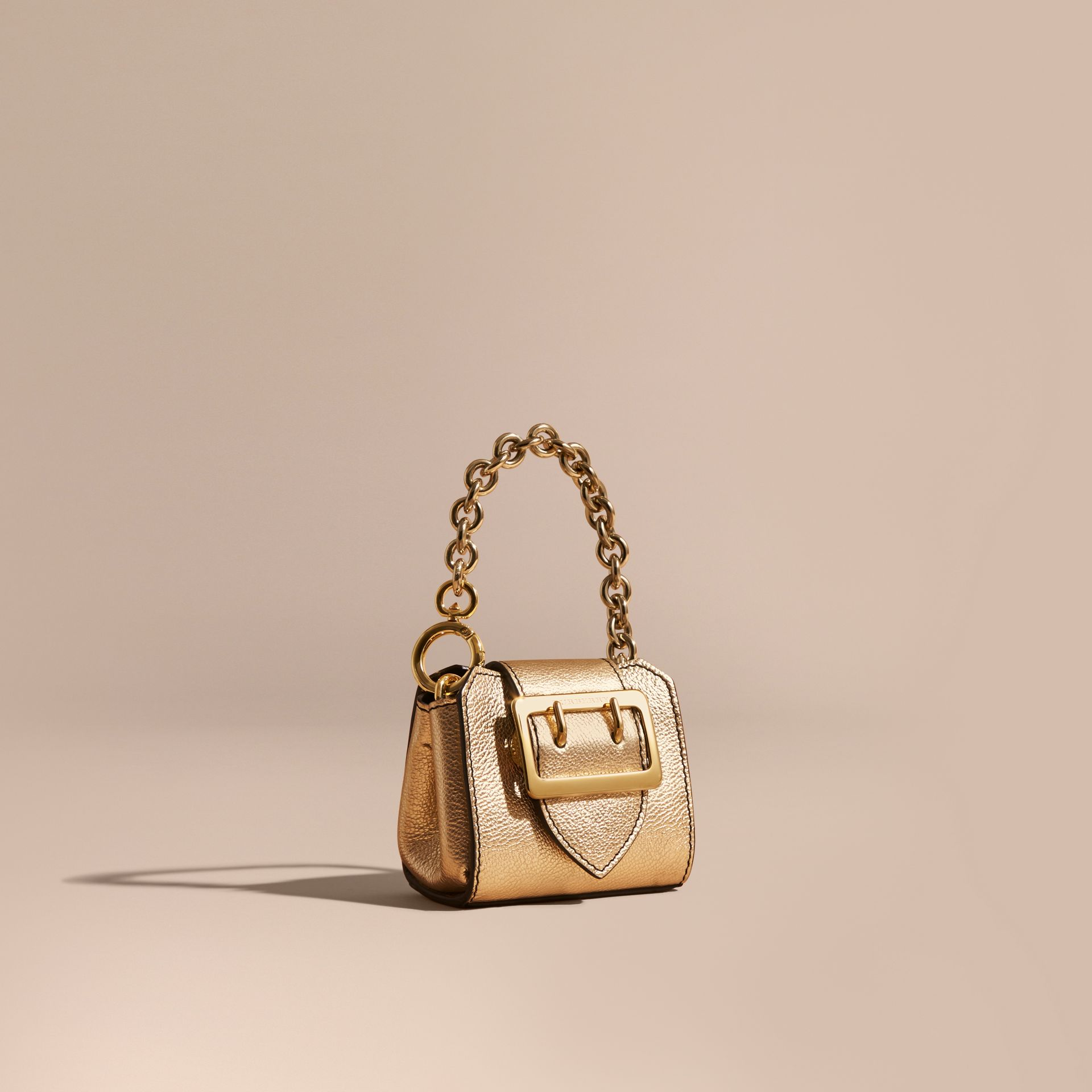 Gold The Mini Buckle Tote Charm in Metallic Leather Gold - gallery image 1