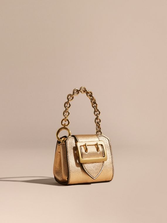 Ciondolo borsa tote The Buckle mini in pelle metallizzata Oro
