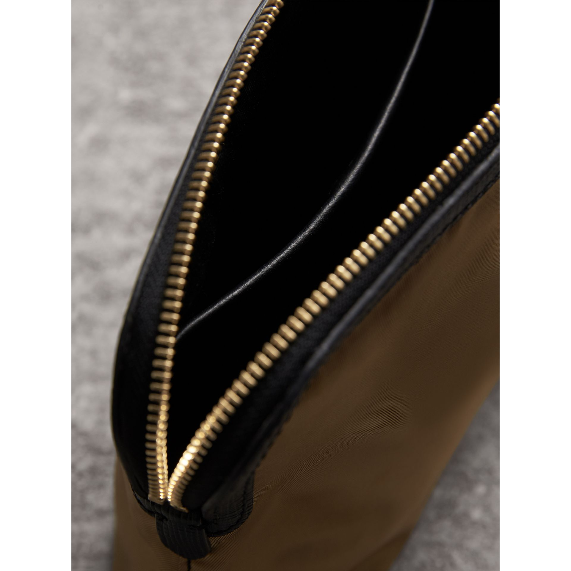 Large Zip-top Leather-trimmed Technical Nylon Pouch in Gold/black - Women | Burberry - gallery image 4