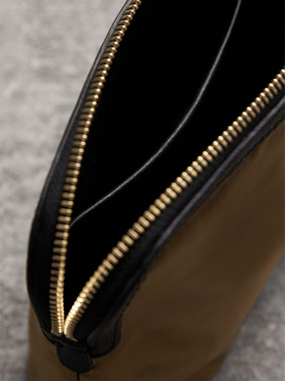 Large Zip-top Leather-trimmed Technical Nylon Pouch in Gold/black - Women | Burberry United Kingdom - cell image 3