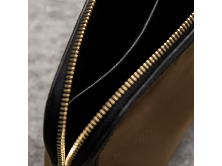 Large Zip-top Leather-trimmed Technical Nylon Pouch in Gold/black - Women | Burberry - cell image 4