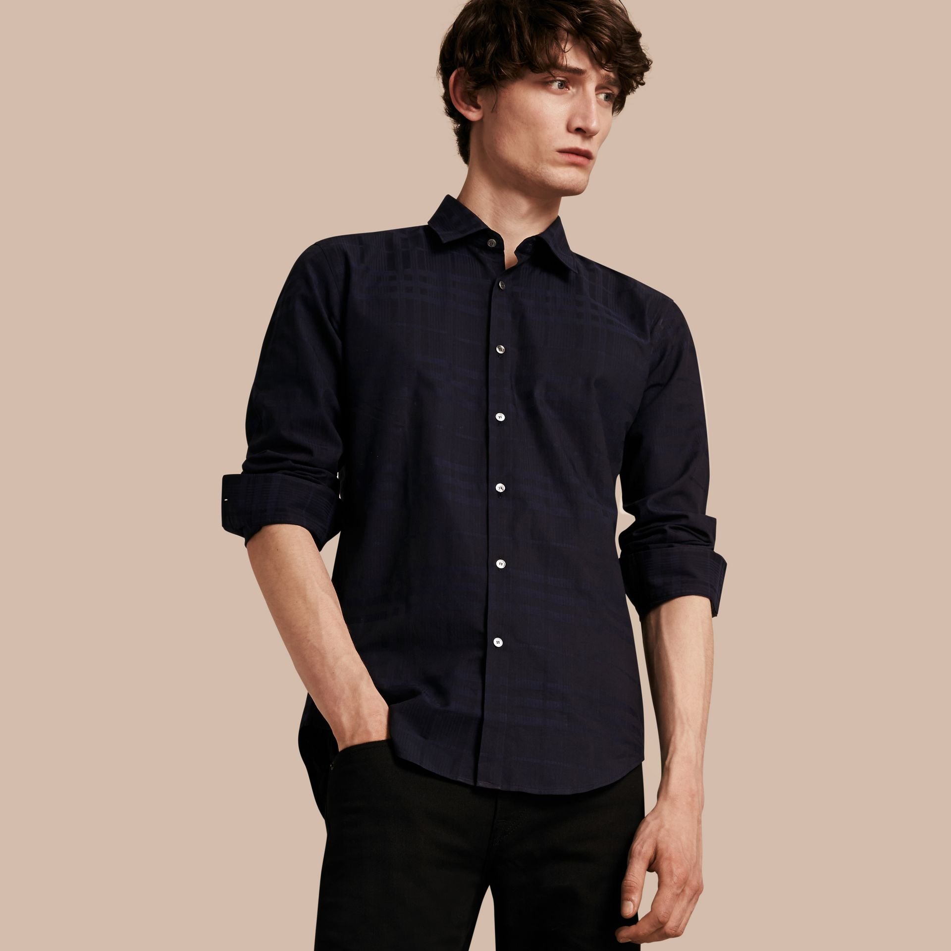 Navy Check Jacquard Cotton Shirt Navy - gallery image 1