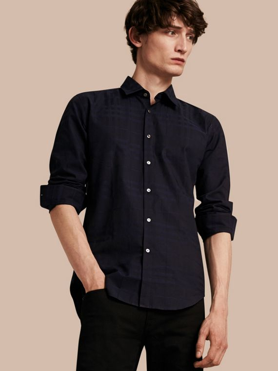 Check Jacquard Cotton Shirt Navy