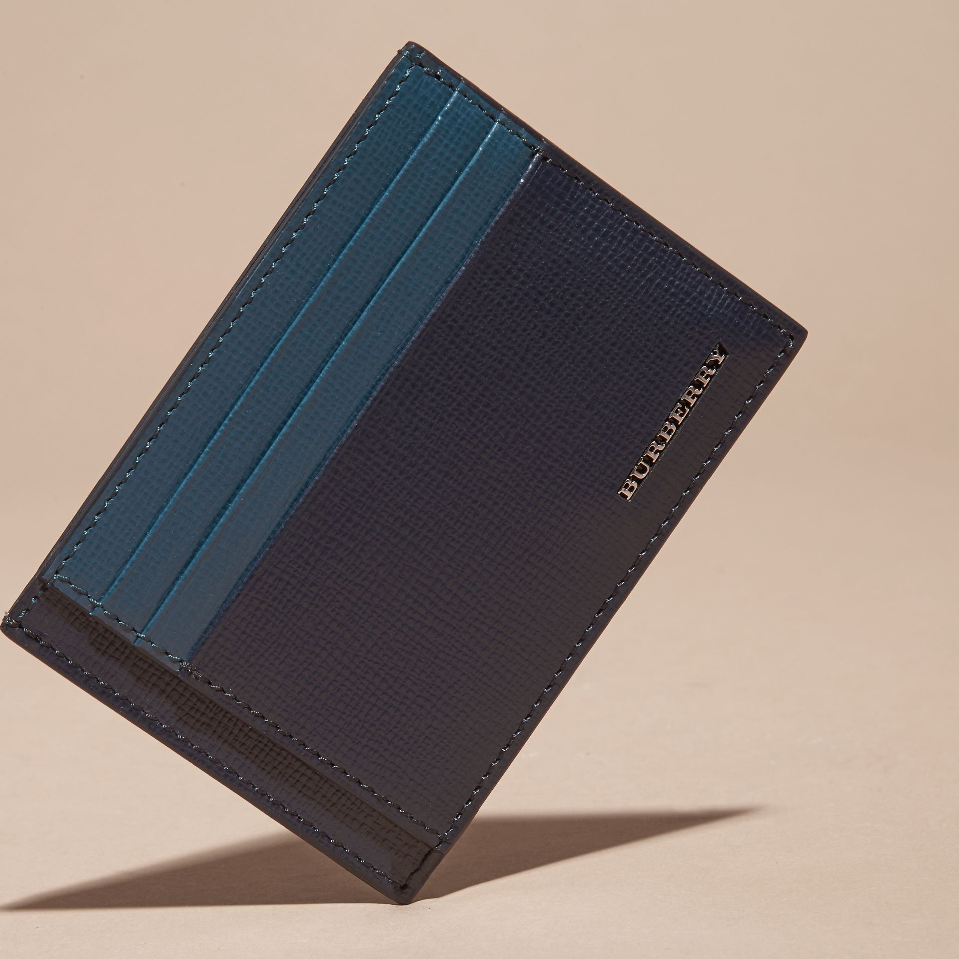 Dark navy/mineral blue Colour Block London Leather Card Case Dark Navy/mineral Blue - gallery image 3
