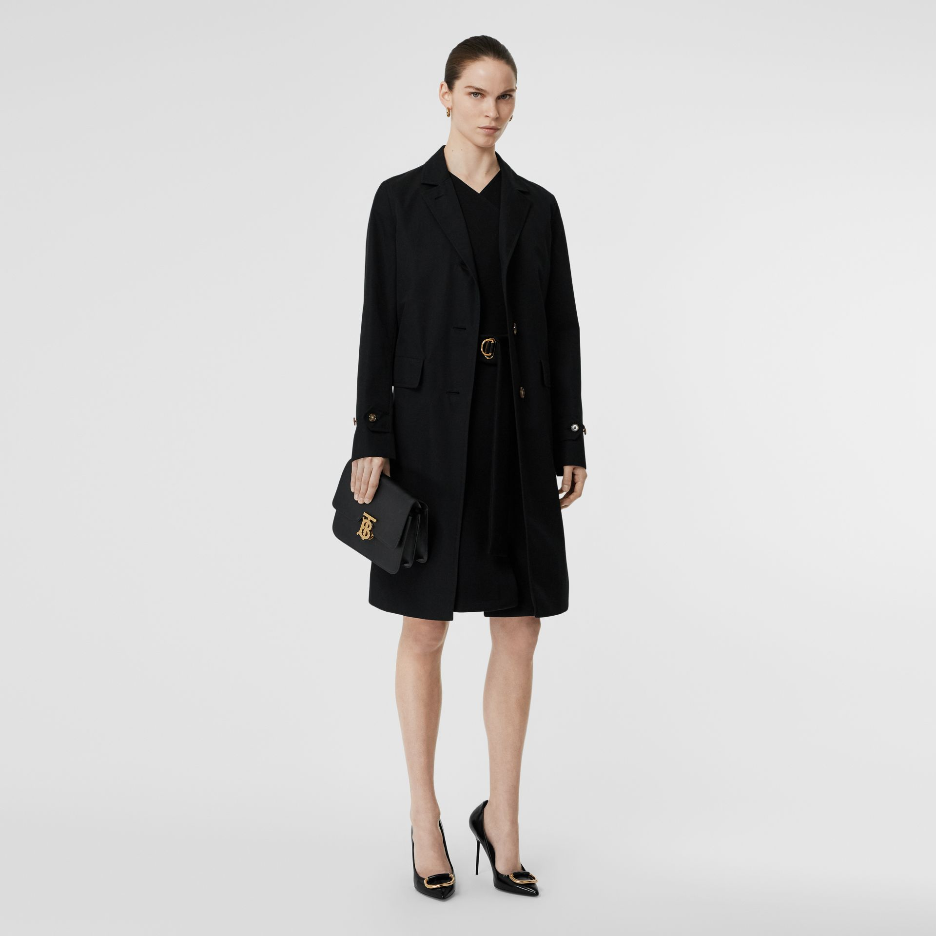Cotton Gabardine Lab Coat in Black - Women | Burberry Australia - gallery image 0