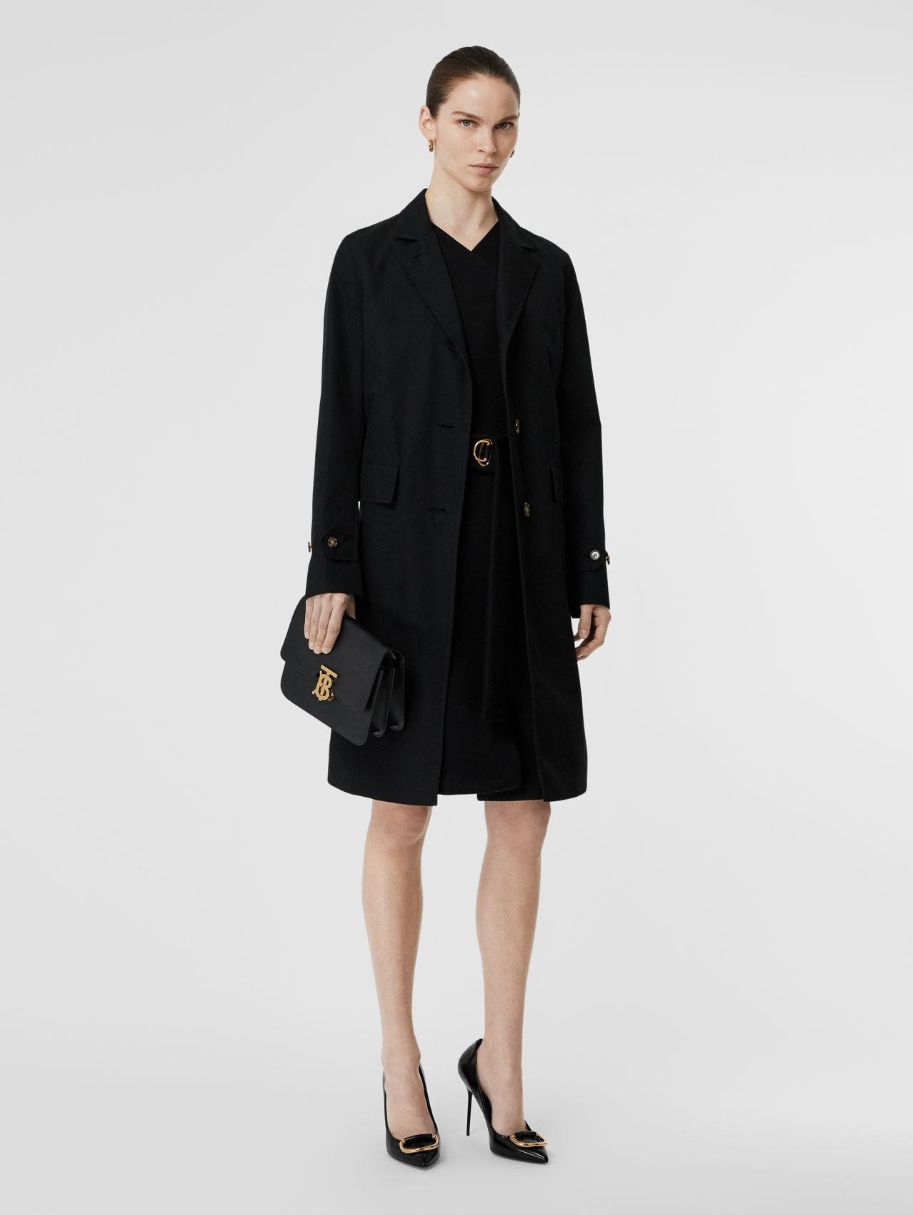 Cotton Gabardine Lab Coat in Black