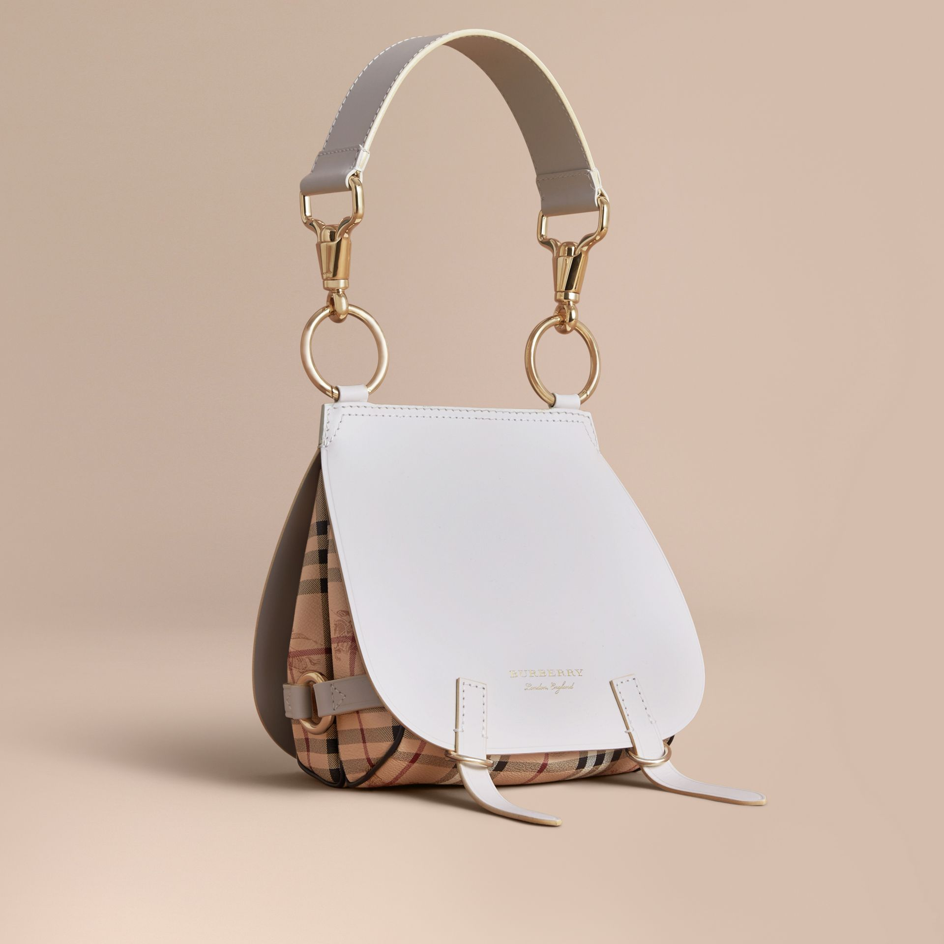 The Bridle Bag in Leather and Haymarket Check in Natural - Women | Burberry - gallery image 1