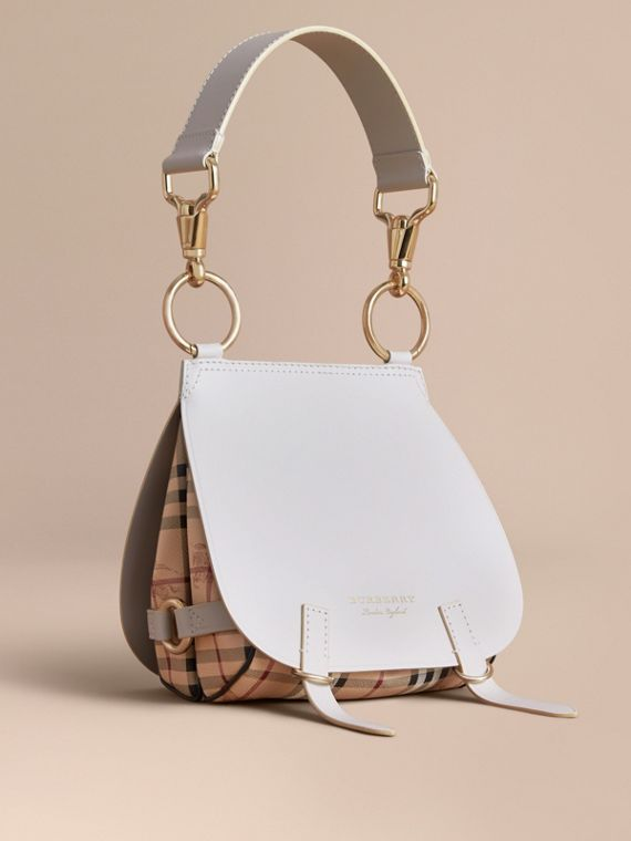 The Bridle Bag in Leather and Haymarket Check in Natural - Women | Burberry