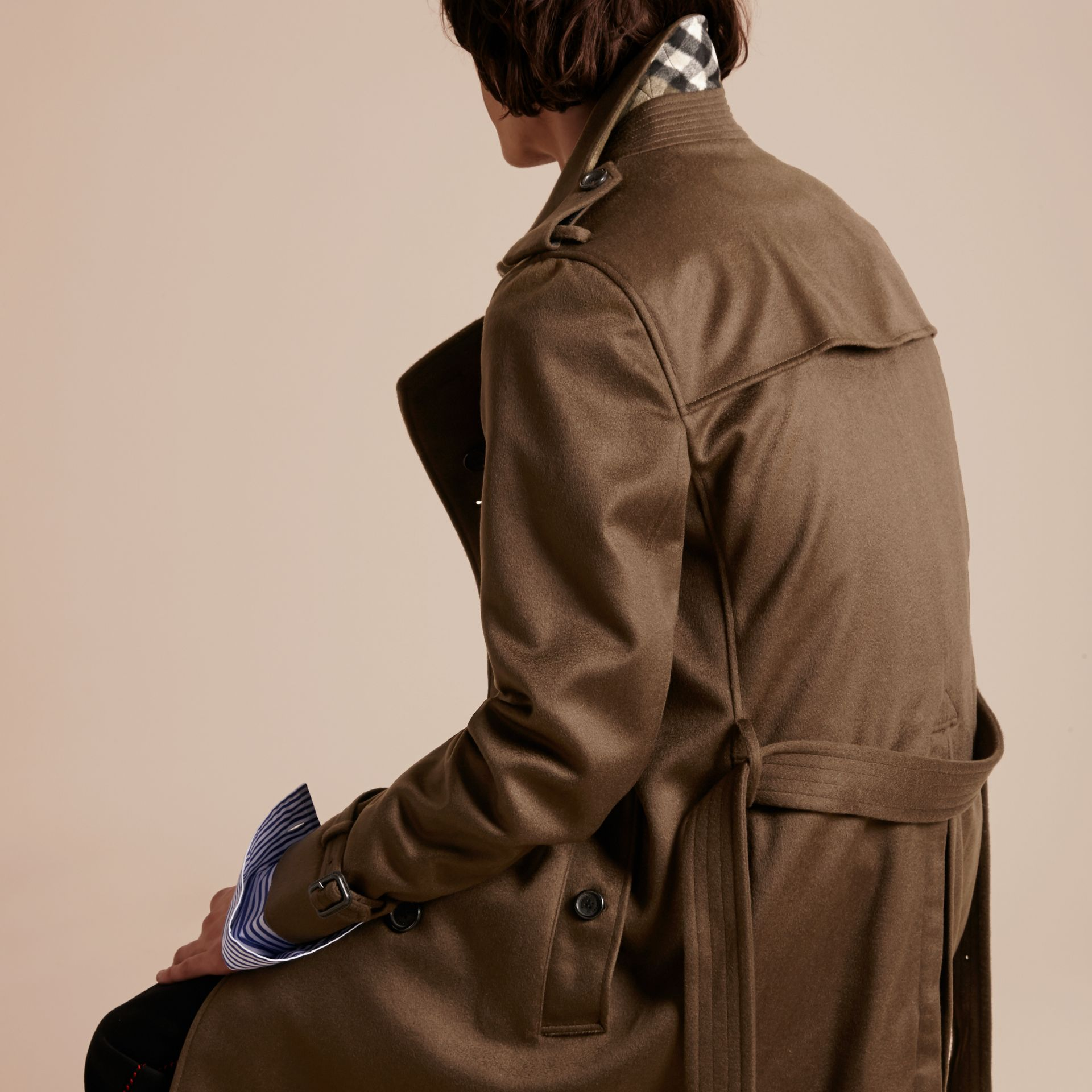 Cashmere Trench Coat in Dark Military Khaki - gallery image 3