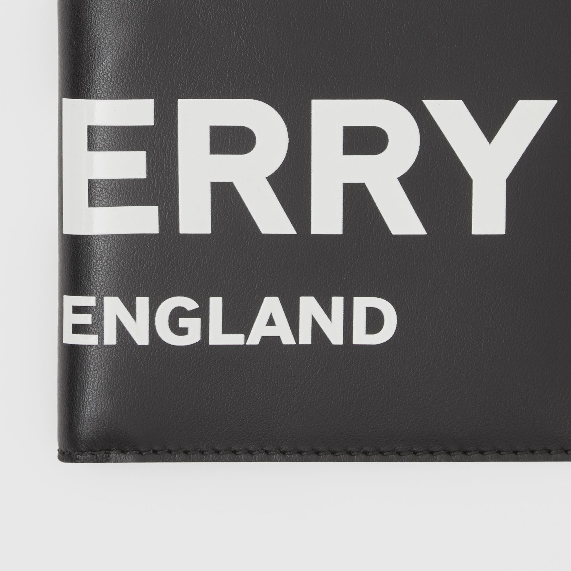 Logo Print Leather International Bifold Wallet in Black | Burberry - gallery image 1