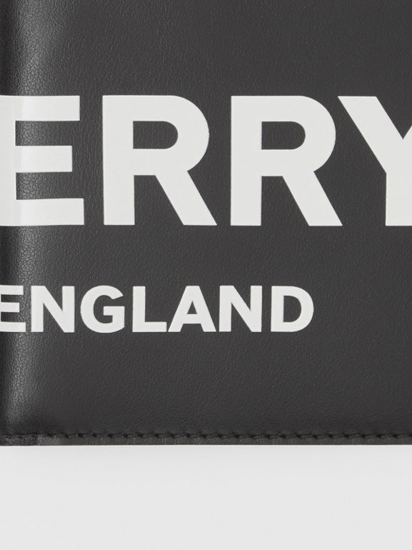 Logo Print Leather International Bifold Wallet in Black | Burberry - cell image 1