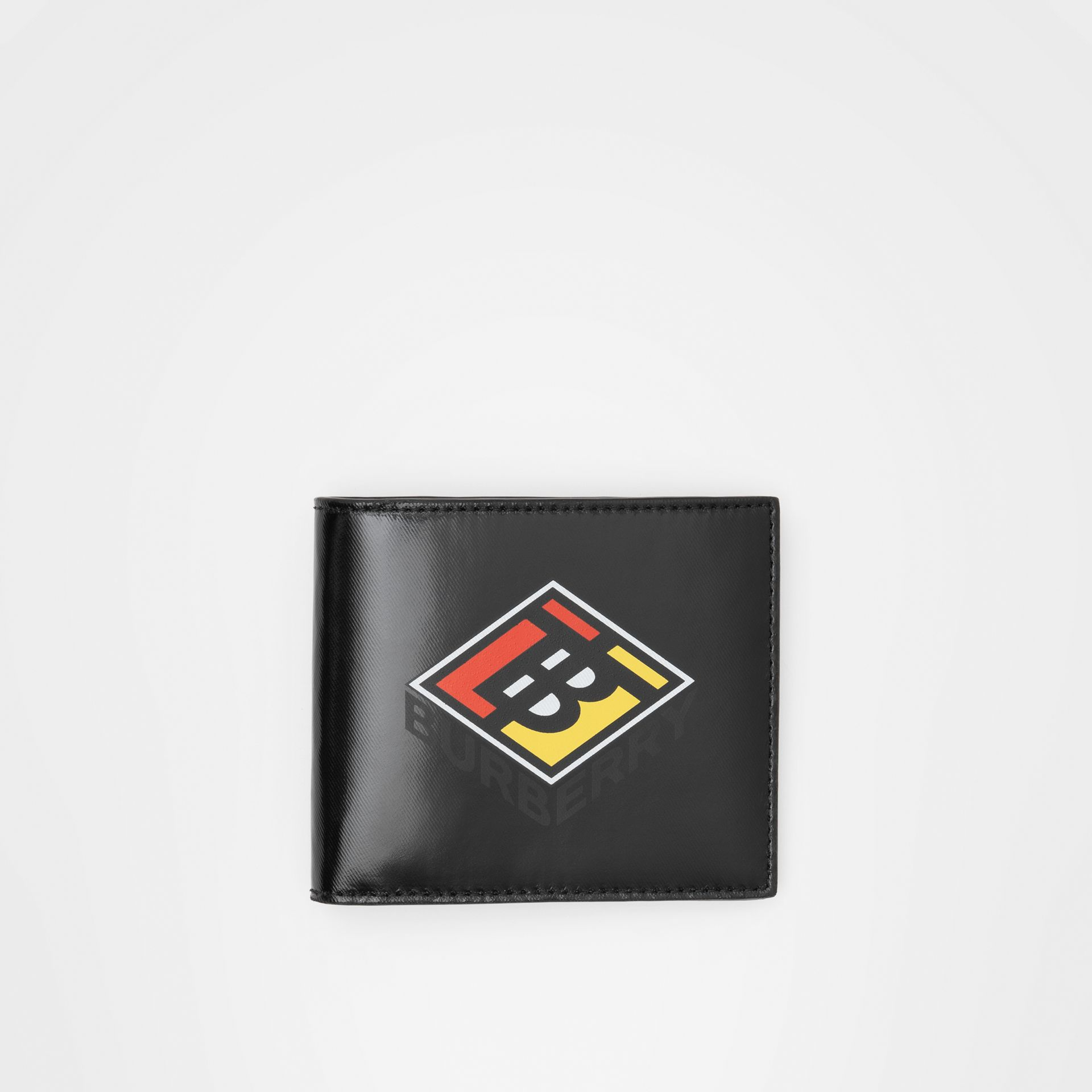 Logo Graphic Canvas International Bifold Wallet in Black - Men | Burberry - gallery image 0