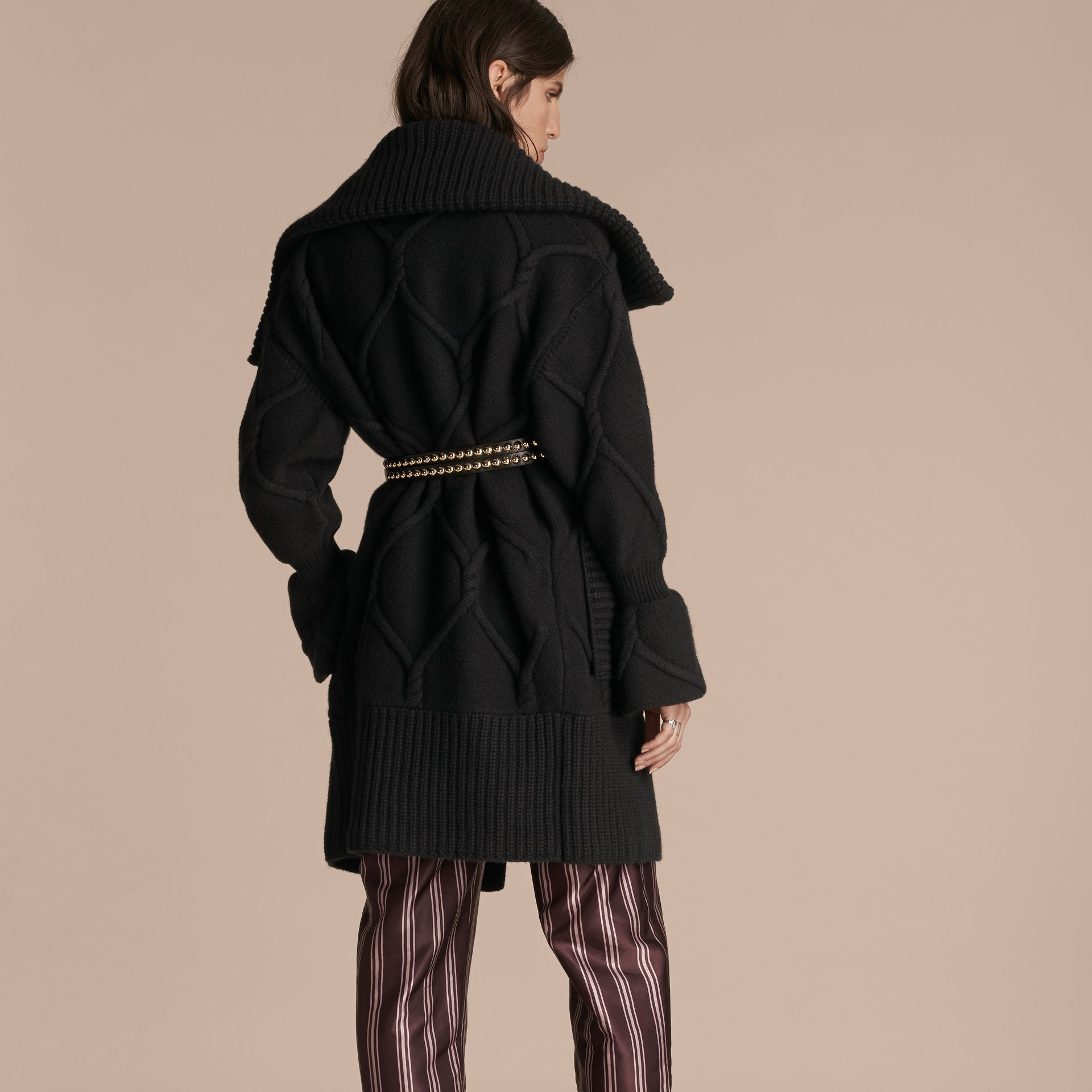 Black Cable Knit Wool Cashmere Cardigan Coat - gallery image 3